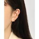 Korean S925 sterling silver simple geometric doublelayer ear clip NHFH335308