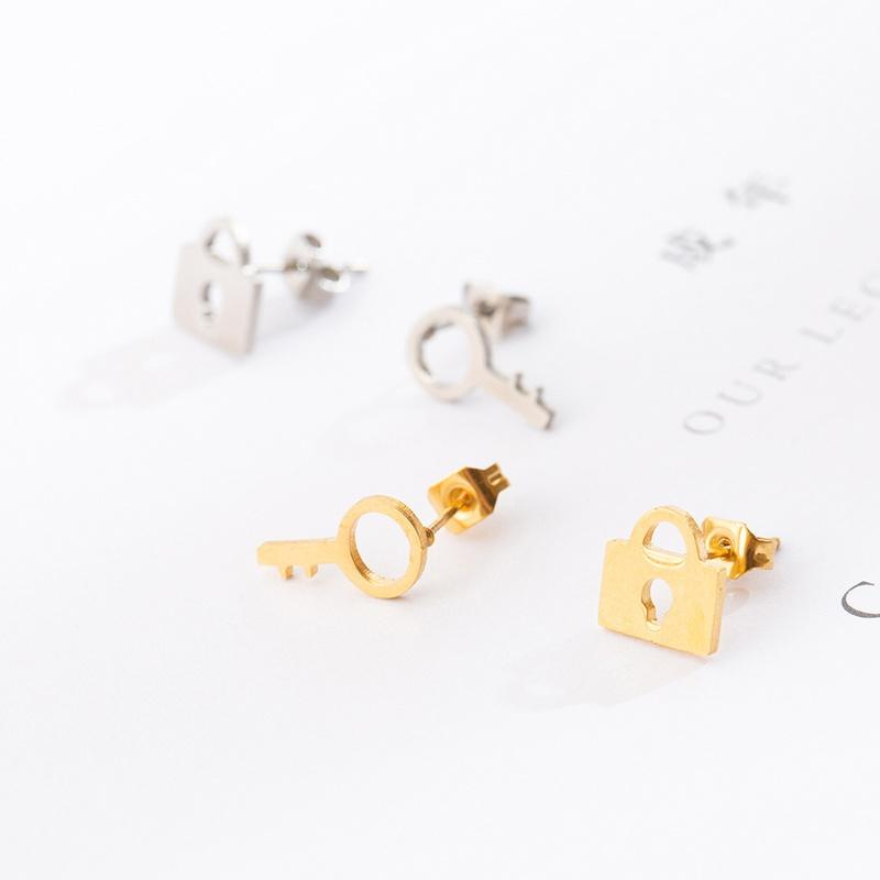 Simple lock key asymmetrical alloy earrings NHAKJ335346