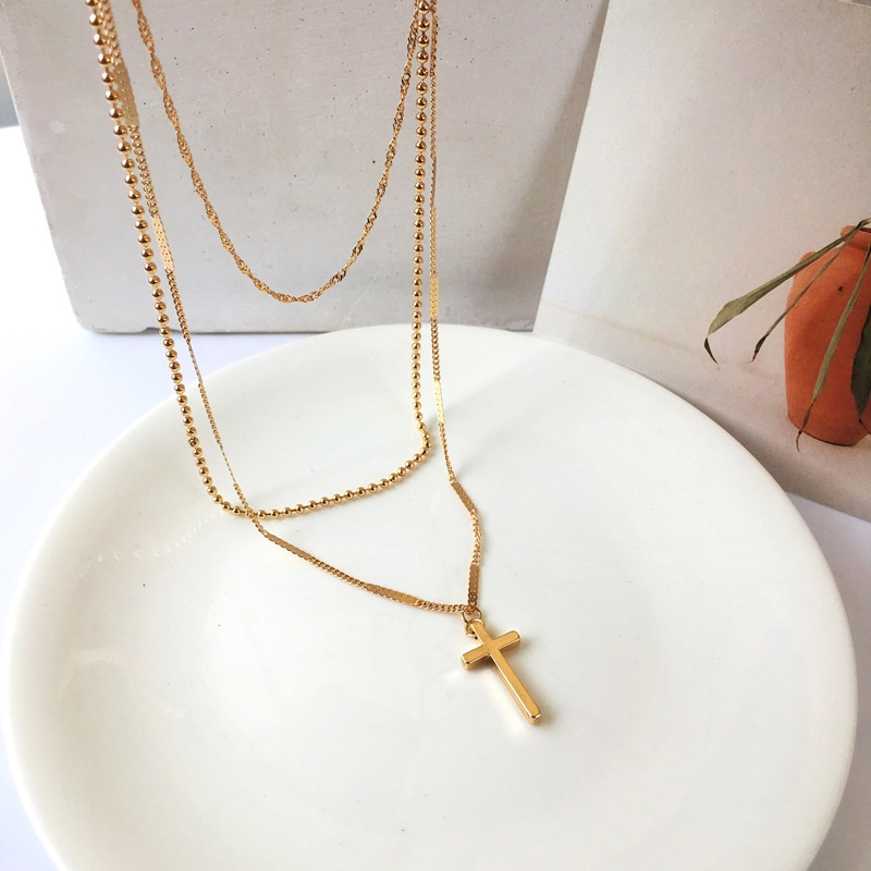 Fashion chain cross multilayered long necklace  NHBY335475