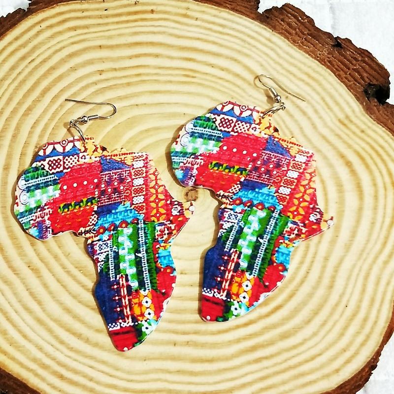 fashion engraving printing painted wooden earrings  NHAAX335481