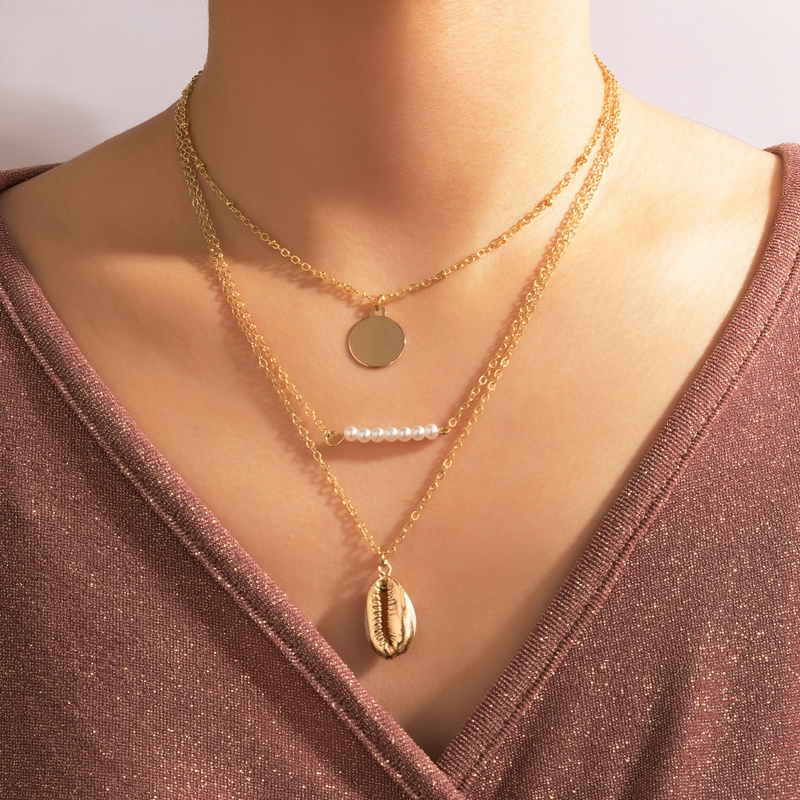 Simple Disc Fashion Pearl Shell Three Layer Necklace NHGY335789