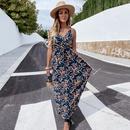 Ladies Summer Fashion Sleeveless Sling Printed Bohemian Dress NHKO335779