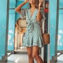 polka dot print Vneck laceup ruffled short dress NHKO335775