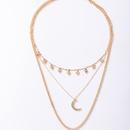 simple diamond moon pendant necklace NHGY335770