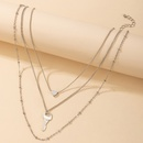 Simple Silver Threelayer Necklace NHGY336205
