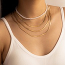 simple pearl exaggerated gold chain fourlayer necklace NHGY336194