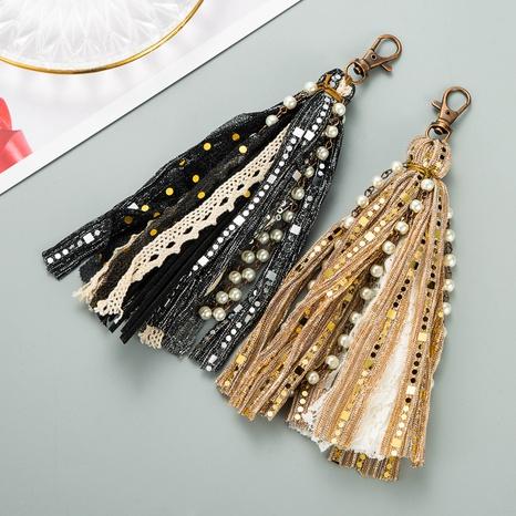 bohemia alloy inlaid pearl lace tassel keychain NHLN335690's discount tags
