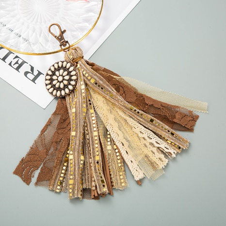 alloy inlaid leather tassel keychain NHLN335636's discount tags