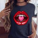 Pure cotton lips pattern printing casual tshirt NHZN335621