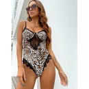 new leopard print sling Vneck hollow lace bodysuit NHIS335617