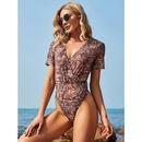 nouveaux bikinis une pice dcontracts  col en V et manches courtes NHIS335610