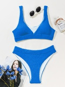 fashion solid color cable fold split swimsuit  NHZO335640