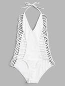 Maillot de bain une pice creux  dos ouvert  plusieurs cordes blanc  la mode NHHL335645
