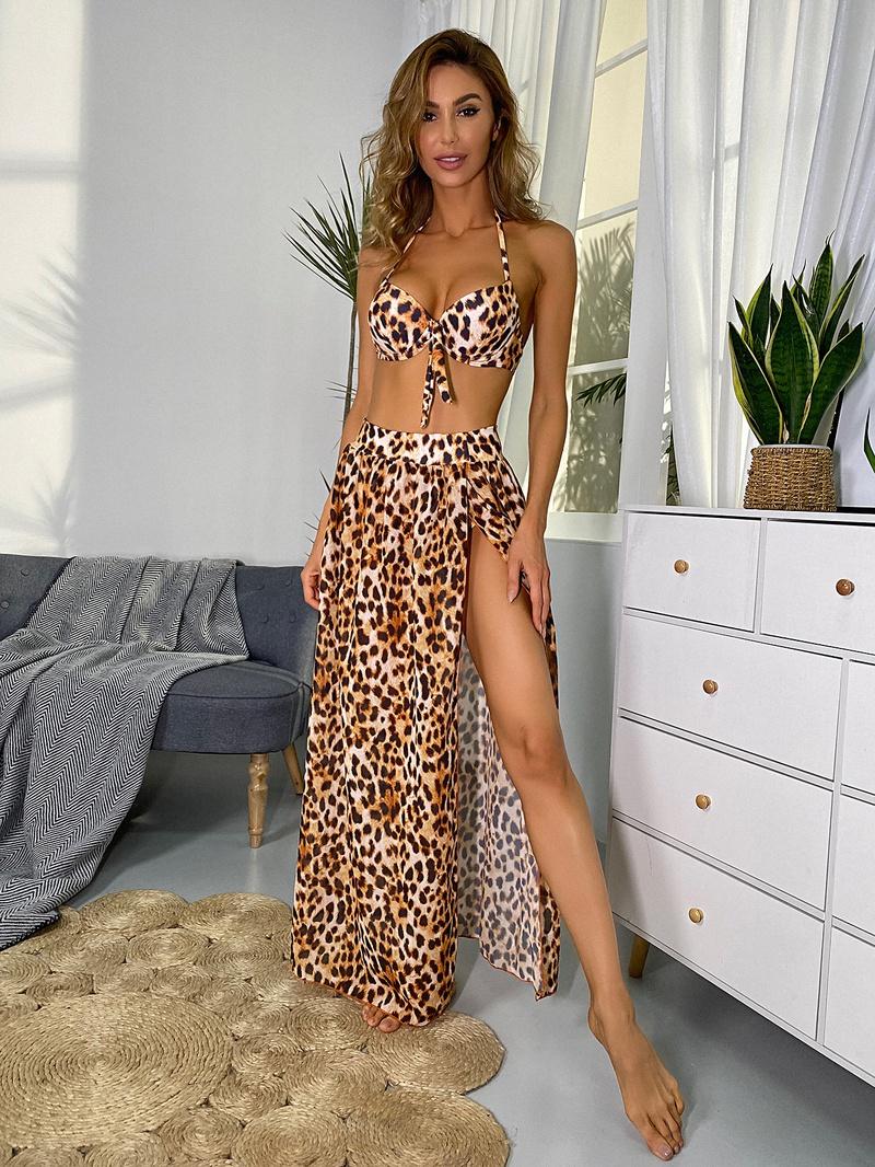 fashion leopard print gathered threepiece bikini  NHHL335648