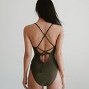 Maillot de bain une pice  dos ouvert sexy en dentelle de couleur unie  la mode NHHL335652