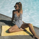 Fashion halter printed tether onepiece swimsuit NHHL335667
