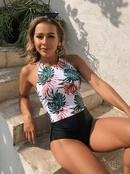fashion tropical plant printing split swimsuit NHHL335672