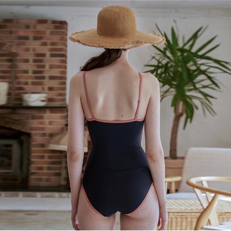 Maillot de bain une pice coren de couleur unie sexy avec couverture dos nu NHHL335676
