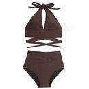 Korean solid color crosslace split swimsuit NHHL335685