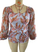 Fashion plus size chiffon longsleeved printing onepiece swimsuit NHHL335700
