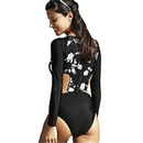 Fashion longsleeved floral zipper sexy onepiece swimsuit NHHL335701