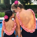 Fashion solid color petals onepiece swimsuit NHHL335703