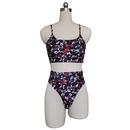 fashion printing double shoulder sling split swimsuit   NHHL335706