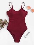 Maillot de bain une pice sexy avec bretelles de couleur unie NHHL335711