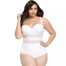 Large size solid color mesh stitching onepiece swimsuit NHHL335716