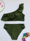 fashion oneshoulder lotus leaf bikini  NHHL335724