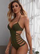 fashion onepiece row rope lace gather bikini  NHHL335729