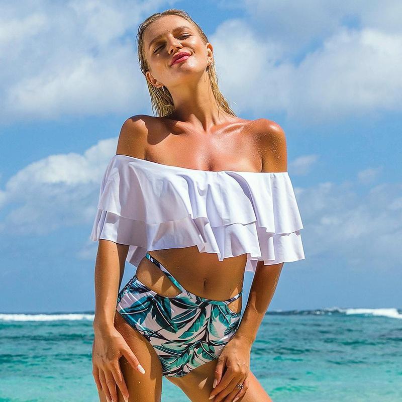 fashion doublelayer ruffled print split swimsuit  NHHL335730