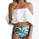 Mode Doppelschicht Badeanzug mit Rschenmuster NHHL335730