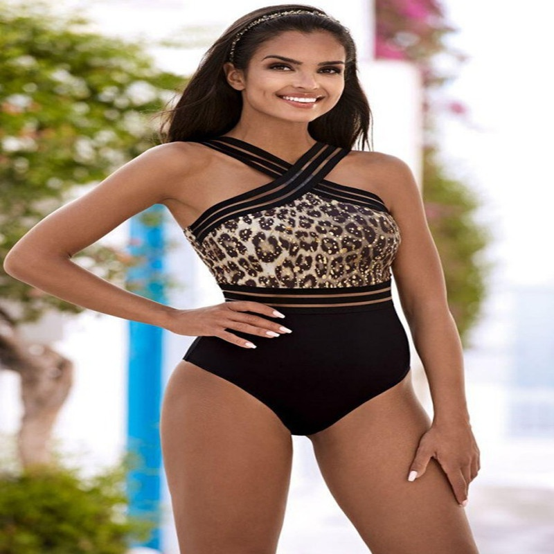 Fashion high waist leopard pattern stitching onepiece swimsuit wholesale NHHL335735