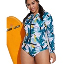 Fashion plus size onepiece longsleeved printed swimwear NHHL335743