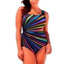 Traje de bao de una pieza con tira de arco iris de talla grande de moda NHHL335748
