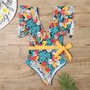 Mode sexy impression col en V manches clignotantes taille haute maillot de bain une pice NHHL335757