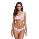 fashion polkadot oneshoulder ruffled split swimsuit  NHHL335764