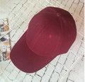 NHAMD1554650-Velcro-curved-brim-hat-wine-red-adjustable