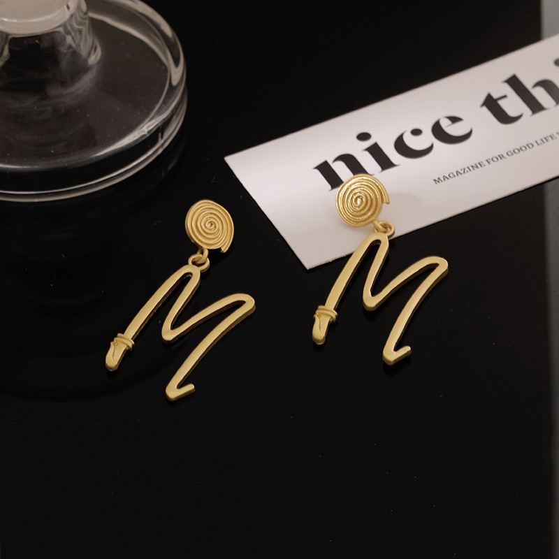Korea fashion M letter earrings  NHGY336182
