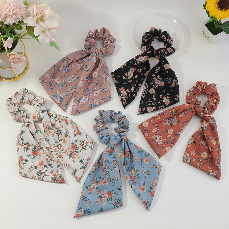 Korean floral contrast color plaid fabric hair scrunchies NHAU335859