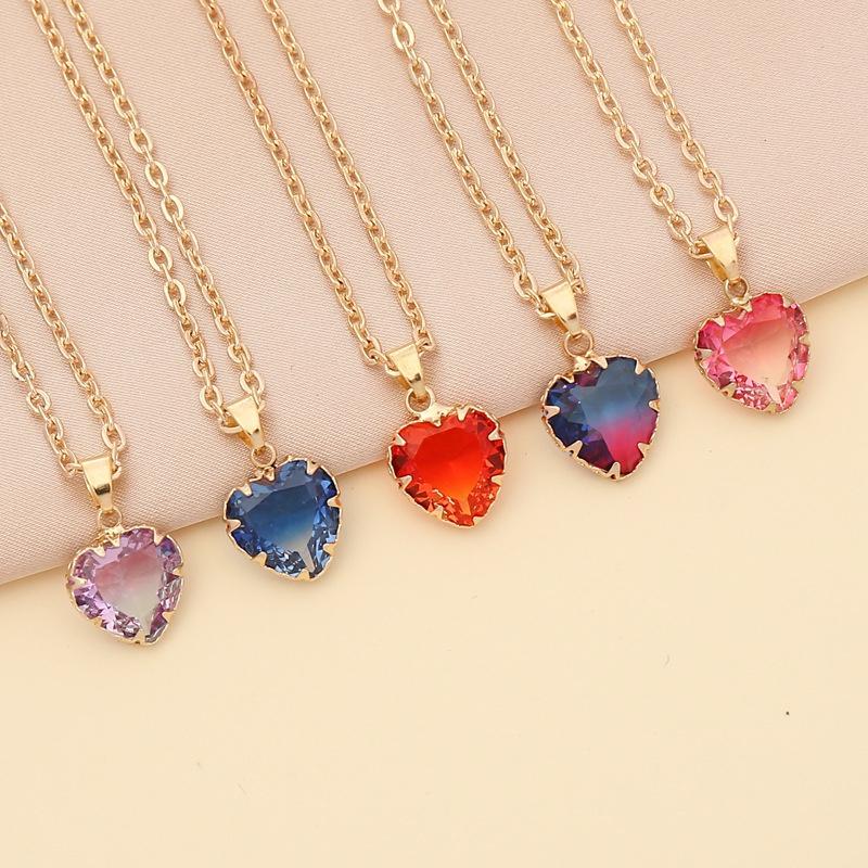 Fashion Multicolor HeartShape Necklace NHBW335877