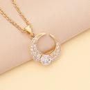 Fashion multicolor zircon moon copper necklace NHBW335879