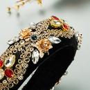 creative rhinestone gold velvet sequin headband NHLN336163