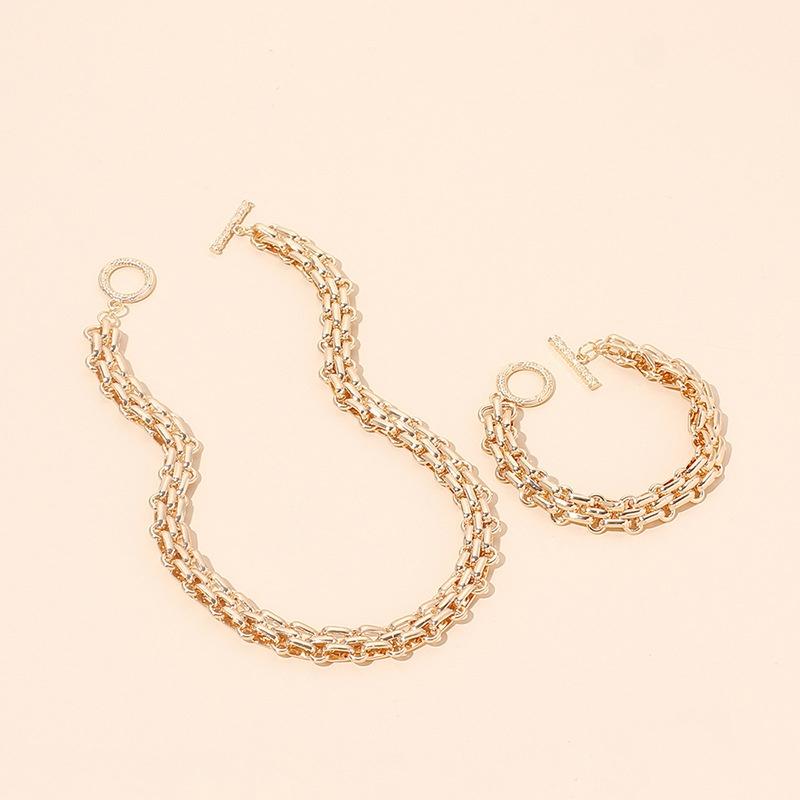 Hiphop geometric metal necklace bracelet set NHRN335885