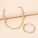 Hiphop geometric stacked metal necklace bracelet set NHRN335886