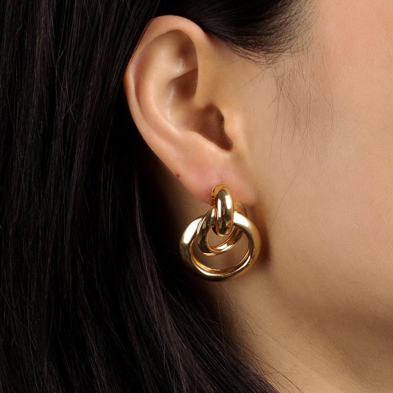Korean metal ring interlaced earrings  NHRN335890