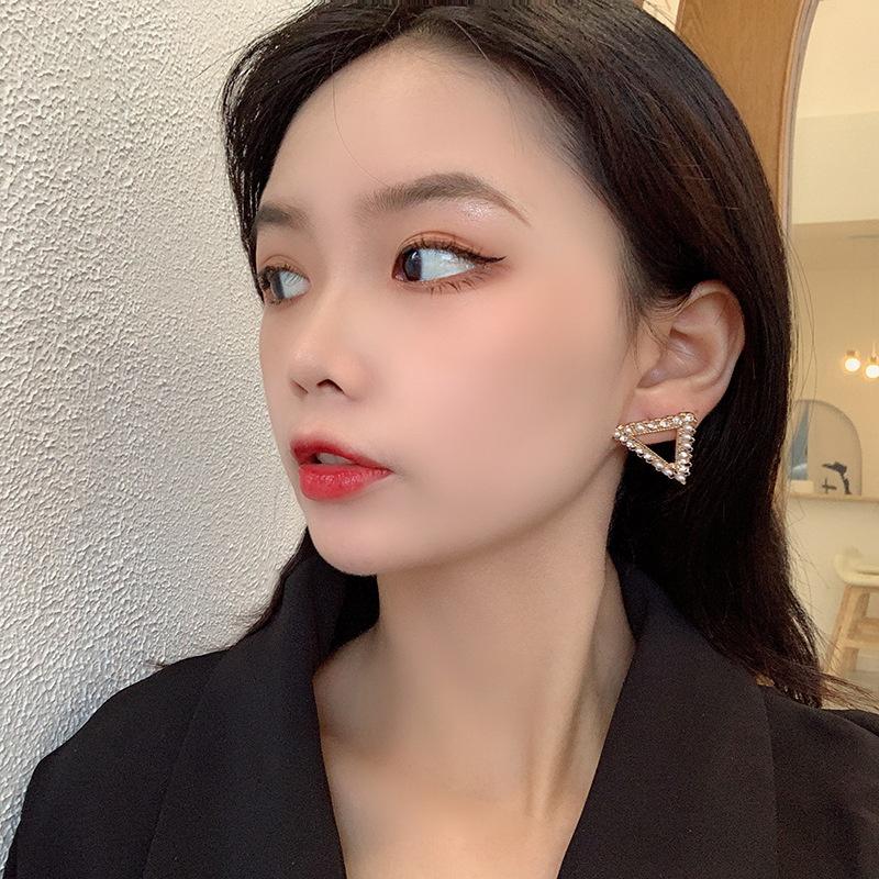 fashion triangle rhinestone earrings  NHRN335891