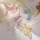 Korea heartshape transparent bear earrings  NHMS335913