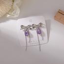 Fashion purple rhinestone metal bow tassel earrings NHMS335914